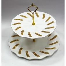 Тарелка 2 ярусная/золот