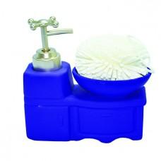 Дозатор для жидкого мыла со спонжем/синий