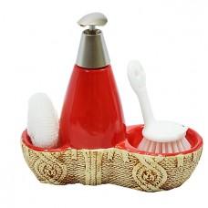 Дозатор для жидкого мыла со спонжем и щеткой/красн
