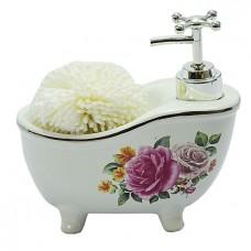 Дозатор для жидкого мыла со спонжем/белый
